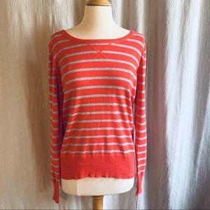 NWT Sonoma Coral & Gray Striped Sweater Size L